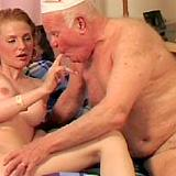 Busty girl treating horny senior
