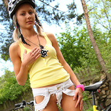Gorgeous blond teen Pinky June get hot and naked outdoors