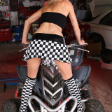Czech teen Pinky June gets horny in the car repair garage