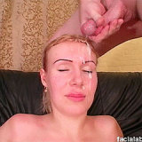 Russian milf gets a sticky cum plastering