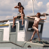 Olga and Olya get flexible while on a fishing expedition, on each other.