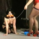 Brunette slavegirl treated like a dog