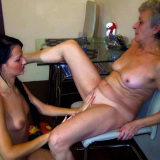 Lesbian grandma getting licked by sweet young girl
