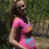 Pregnant Kristi naked outdoors