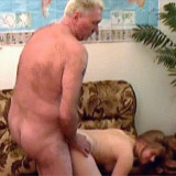Senior guy fucking a much younger girl doggystyle