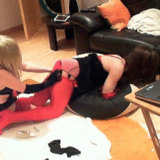 Kirsty gets spanked, whipped and then fucked hard by her horny mistress.