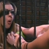 Blonde slave lets her mistress foot fuck her pussy
