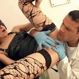 Hot babe Lisa wears a mask and net stockings as she gets her pussy fucked at the clinic