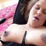 Pregnant babe Amber Reign playing her pussy with an insanely huge black colored dildo