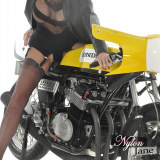 Nylon Jane really likes it nice and fast and with one of these little racer bikes between her sexy nylon legs! The vibrations alone are enough to make her feel moist and wet