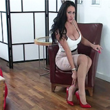 The style of her shoes, the rhythm and the tapping of her high heels are so sexual, making you feel it so desperately! Do you like the sexy red colour of Selina's stilettos? Do you want to make a sticky mess all over them