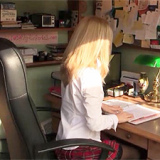 Kinky blonde Tinkerbell takes on some big and tricky secretarial tasks with a huge cock toy that's very rewarding