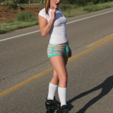 Kate's Playground: Kate's stunning girlfriend Abbie teases with her perky boobs and round ass outdoors as she roller skates on the road